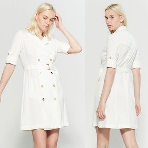 Sharagano Belted Double Breast Ivory Trench Dress